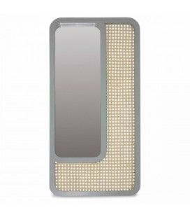 Grand miroir rectangle gris design en rotin HANOI -