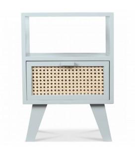 Table de chevet 1 tiroirs style rotin blanc HANOI