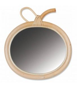 Petit miroir design pomme en bois et verre HANOI -
