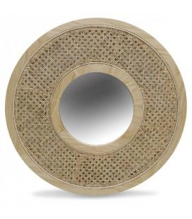 Miroir rond avec cannage en rotin D58 cm HANOI -