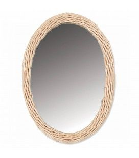 Miroir oval avec bordure effet rotin 32x23 cm HANOI