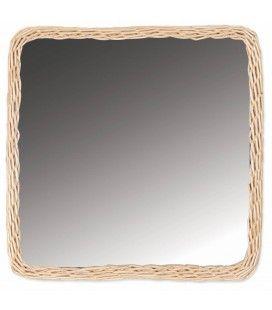 Grand miroir carré avec bordure en rotin 44x44cm HANOI -