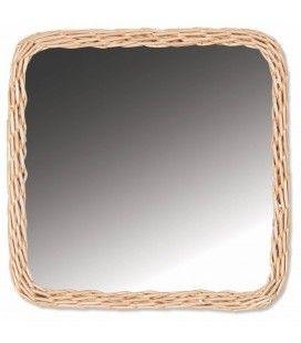 Miroir carré avec bordure en rotin 33x33cm HANOI -