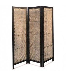 Paravent en bois noir avec façade style rotin HANOI -