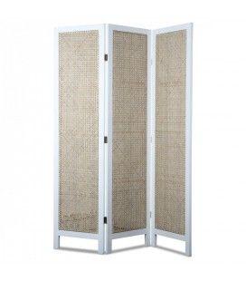 Paravent en bois blanc avec façade style rotin HANOI -