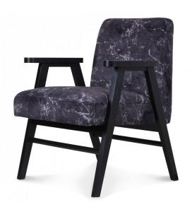 Fauteuil scandinave bois et tissu effet marbre noir