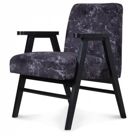 Fauteuil scandinave bois et tissu effet marbre noir -