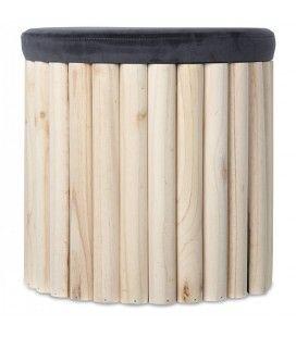 Tabouret coffre en bois avec assise velours gris