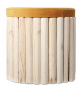 Tabouret coffre en bois avec assise velours miel