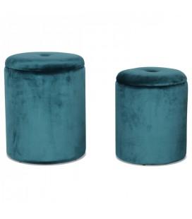 Set de 2 tabourets coffre rond en velours bleu -