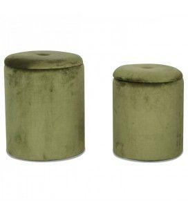 Set de 2 tabourets coffre rond en velours vert -