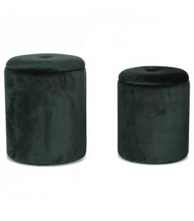 Set de 2 tabourets coffre rond en velours vert menthe -
