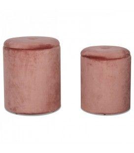 Set de 2 tabourets coffre rond en velours rose