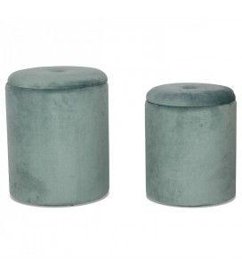 Set de 2 tabourets coffre rond en velours vert thym -