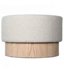 Tabouret en bois et tweed blanc