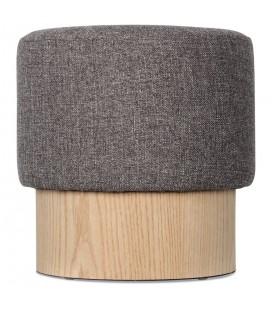 Petit tabouret en bois de pin et tweed gris