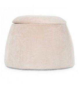 Tabouret coffre forme dôme en velours blanc -