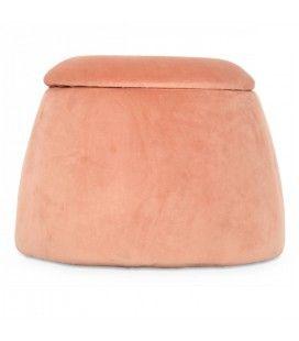Tabouret coffre forme dôme en velours rose -