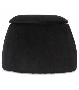 Tabouret coffre forme dôme en velours noir -