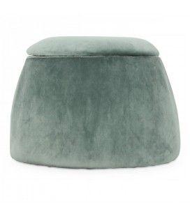 Tabouret coffre forme dôme en velours vert thym -