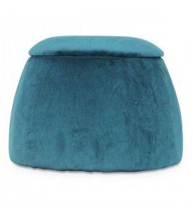 Tabouret coffre forme dôme en velours bleu -