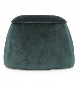 Tabouret coffre forme dôme en velours vert menthe -