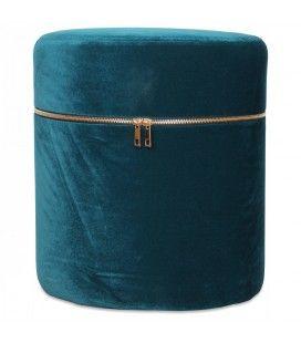 Petit tabouret coffre design zip en velours bleu vert