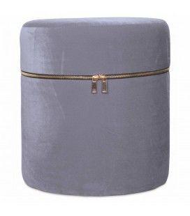 Petit tabouret coffre design zip en velours gris -