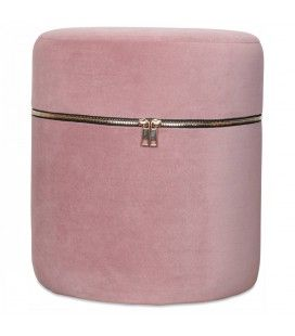Petit tabouret coffre design zip en velours rose -