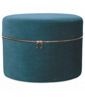 Tabouret coffre design zip en velours bleu vert