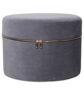 Tabouret coffre design zip en velours gris -