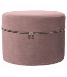 Tabouret coffre design zip en velours rose -