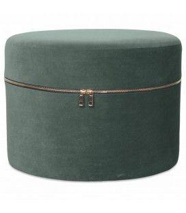 Tabouret coffre design zip en velours vert thym -