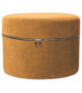Tabouret coffre design zip en velours moutadre -