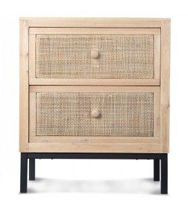 Table de chevet 2 tiroirs style rotin tissé -