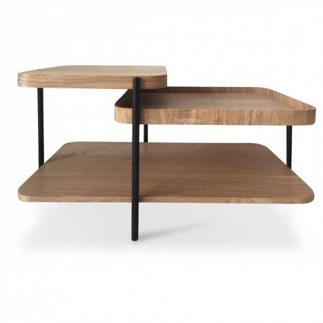 Table basse design moderne en bois et métal -