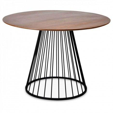 Table à manger ronde marron en bois et métal -