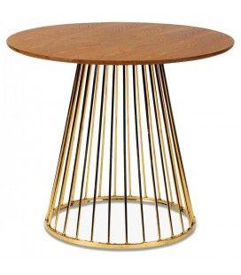 Table à manger ronde en bois et pied chromé en métal -
