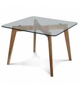Table de repas design scandinave en bois et verre Fiorda