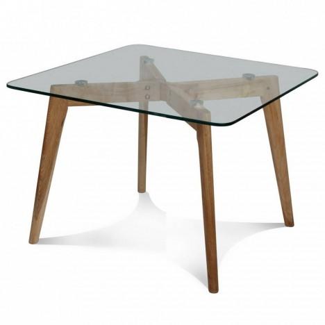 Table de repas design scandinave en bois et verre -
