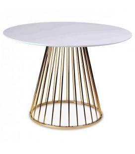 Table à manger en bois blanc et pied doré en métal -