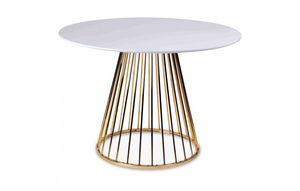Table A Manger En Bois Blanc Et Pied Dore En Metal Decome Store