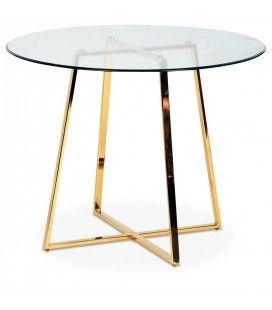 Table ronde en verre avec pieds en métal chromé or Francky
