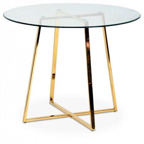 Table ronde en verre avec pieds en métal chromé or -