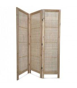Paravent en bois blanc avec façade style rotin HANOI