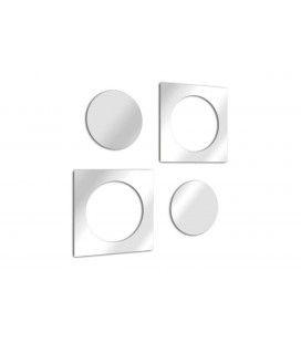 Miroir design rond et carré imbriqué en double - 3 dimensions