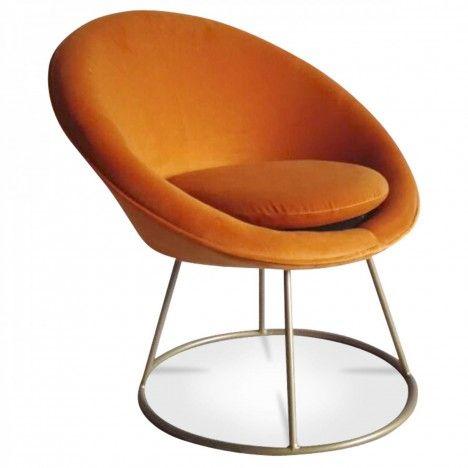Fauteuil loveuse en velours orange pieds doré Lilie -