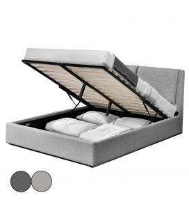 Lit double en tissu gris avec tête de lit et malle intégrée Borg