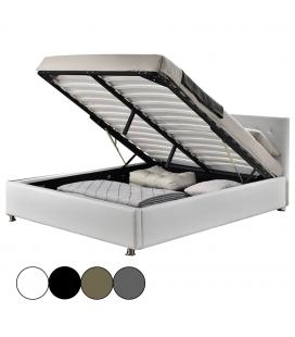 Lit double avec coffre et tête de lit intégrée Diva - 4 coloris