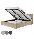 Lit double en lin avec coffre et tête de lit intégrée DIVA - 4 coloris